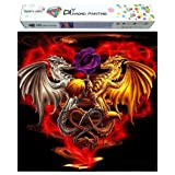 Dylan's cabin DIY 5D Diamond Painting Kits for Adults,Full Drill Embroidery Paint with Diamond for Home Wall Decor(Dragon /16x16inch) (Color: dragon 4)