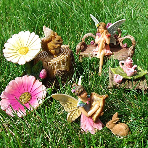 Fairy Garden Miniature Friends Fun Set of 8 pcs, Premium Quality Hand Painted Kit For Outdoor, House, Flat Decor, By Mood Lab (Resin Potting Bench compare prices)