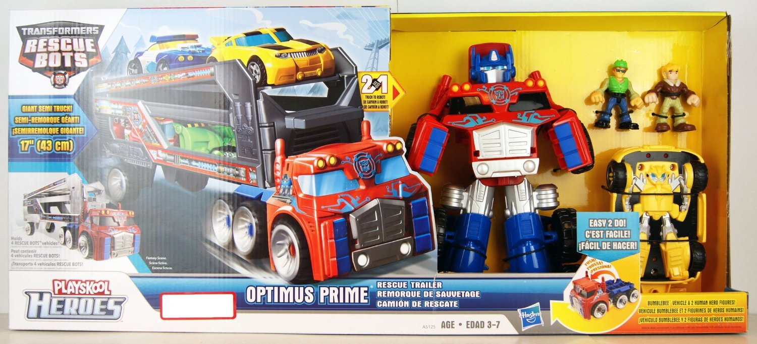Transformers Rescue Bots Playskool Heroes Optimus Prime Rescue Trailer by Transformers TOY (English Manual)