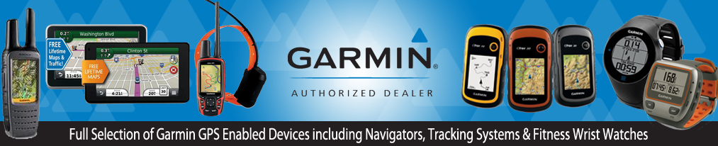Garmin authorized dealer banner with GPS enabled devices, tracking systems, fitness watches, navigators