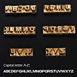 WUTA 26 PCS Custom Capital Letter Brass Stamp Alphabet Stamp Embossing Stamp Craft Carving Tool Seal Hot Branding CNC Engraving Mold,Capital Letter A-Z (Color: Capital letter A-Z)