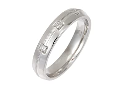 9ct 4mm White Gold Matt & Polished 3 Diamonds Set Wedding Band