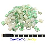 Ethernet Cable Clips,Ruaeoda 60 Pack 8mm Self-Adhesive Wire Clips, Cord Clamp Cable Management for Cat6 Cat5 and Cat7 Flat Ethernet Cable(White) (Color: 60 Pack Ethernet Cable Clips, Tamaño: White 60 Pack)