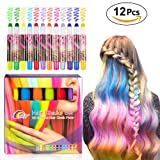 Elover Hair Chalk Set for Girls, 12 Colorful Temporary Hair Chalk Pens. Safe for All Ages. Makes a Great Birthday Gifts Present For Party, Cosplay, Theater, Halloween, Girl's Night, Mother's Day (Tamaño: 12 Colors Hair Chalk Pen)