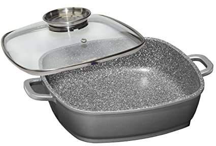 Stoneline - The Original Square Pan with Glass Lid and Aroma Knob and 2 Cotton Protection Hands, 28cm, 4.2 Ltr at amazon