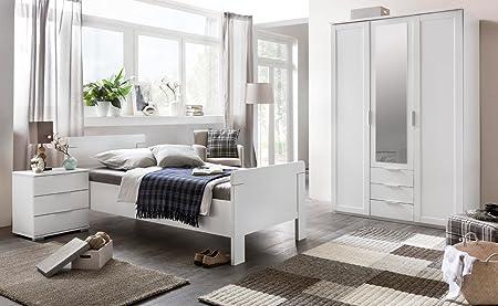Schlafzimmer 3-tlg., alpinweiß, 4-trg. Kleiderschrank B: 270 cm, Kompaktbett 90 x 200 cm, Nachtschrank B: 52 cm