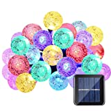 Qedertek Globe Outdoor Solar String Lights 20ft 30 LED Fairy Bubble Crystal Ball Holiday Party Decoration Lights (Warm White) (Multi-Color)