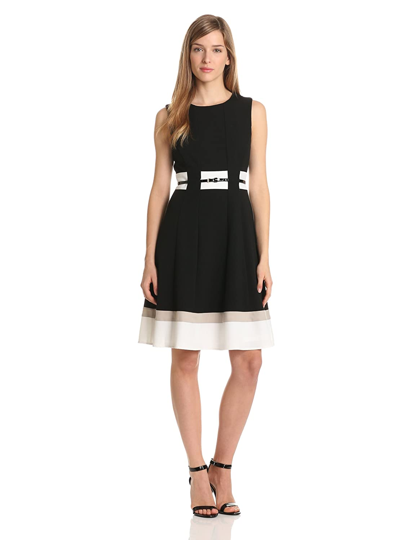 Calvin Klein Women's Belted Colorblock Dress: