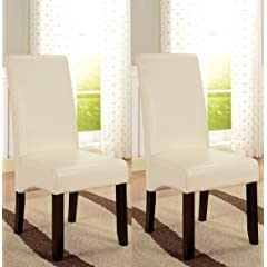 Kings Brand Set of 2 Cream White Parson Chairs With Espresso Finish Solid Wood Legs