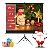 Projector Screen with Stand 100 Inch, Projection Screen for Indoor and Outdoor Movie or Office Presentation 4K HD 16:9 with Wrinkle-Free Tripod Screen (Tamaño: 100'' 16:9)