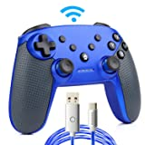 Switch Pro Controller,Wireless Switch Controller for Nintendo Console,with LED Type C Charging Cable (Blue) (Color: Blue)