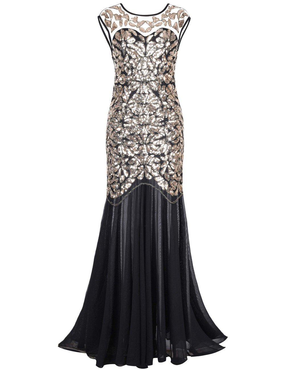 Kayamiya Women's 1920s Beaded Sequin Floral Maxi Long Gatsby Flapper Prom Dress 0