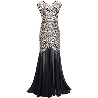 Kayamiya Women's 1920s Beaded Sequined Floral Maxi Long Gatsby Flapper Prom Dress