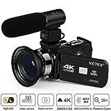 Camcorder, Video Camera 4K VETEK Ultra HD Digital WiFi Camera 30.0MP 3.0 inch Touch Screen IR Night Vision 16X Digital Zoom Recorder External Microphone Wide Angle Lens,2 Batteries (Color: 3-VETEK)