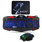 Gaming Keyboard and Mouse Sets - BAKTH 3 Cool Colors LED Backlit Wired USB Keyboard and Mouse Combo for PC Computer Games Including Durable Mouse Mat (Black) (Color: Rainbow, Tamaño: MM)