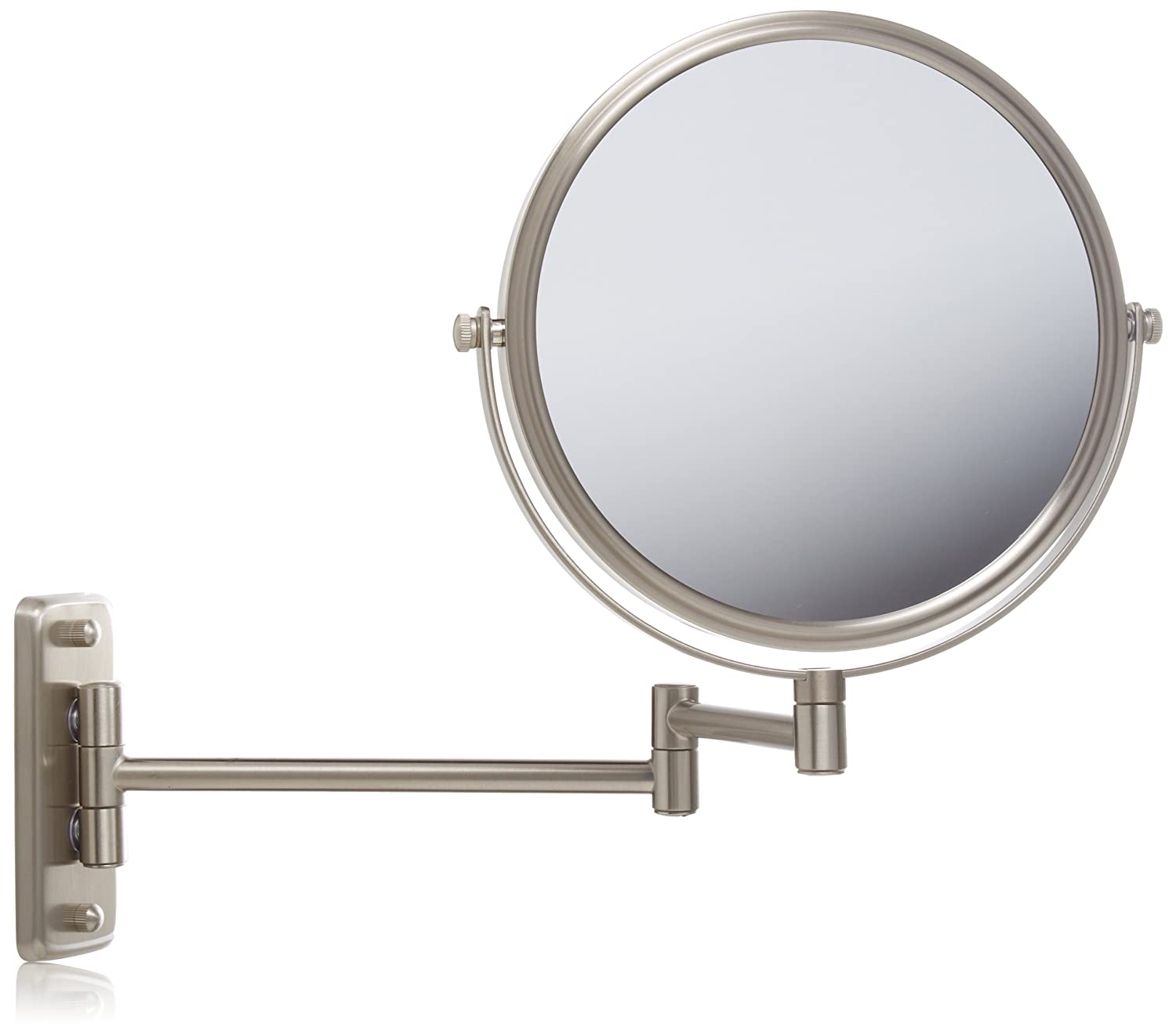 Regular 5x magnifying wall mounted mirror nickel modern for Wall mounted mirror