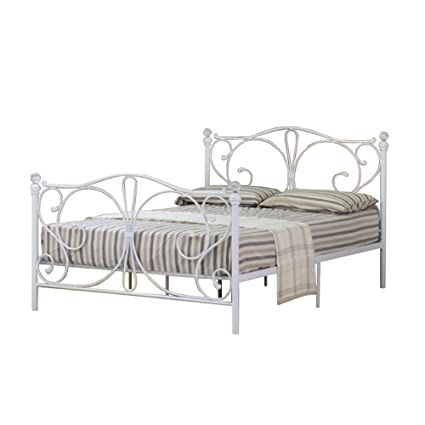 5ft King Metal Bed Frame with Decorative Crystal Finials in White with Leila Mattress