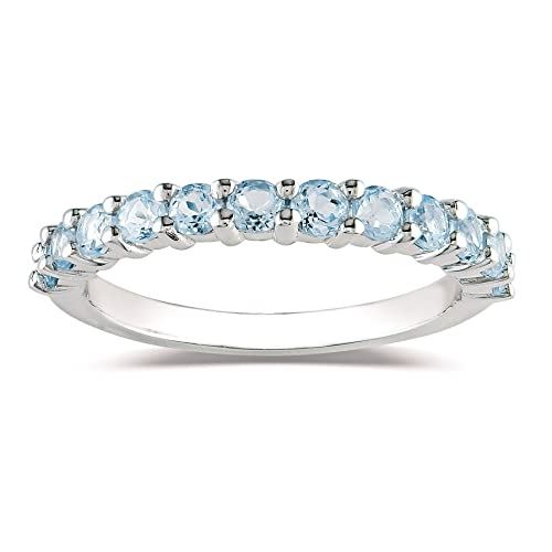 Sterling Silver White Sapphire Semi-Eternity Ring