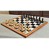 Combo of 2016 Bridle Series Luxury Chess Set with Wooden Board in Ebony Wood / Box Wood - 4.2