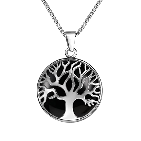 """Tree of Life Natural Agate Gemstone Pendant Necklace Sterling Silver 18/"""""""