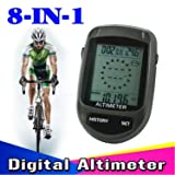BesTim 8 IN 1 LCD Digital Altimeter Compass Altimeter Barometer Thermometer Cycling Altimeter (Black)