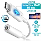 USB C Digital to 3.5mm Headphone Audio Adapter, Insten USB Type C to 3.5mm AUX Converter w/Realtek DAC Hi-res Chipset Compatible with iPad Pro/Google Pixel 2/Pixel 2/XL/Moto Z/ Z2 (Color: 1 PC USB Type C to 3.5mm Adapter)