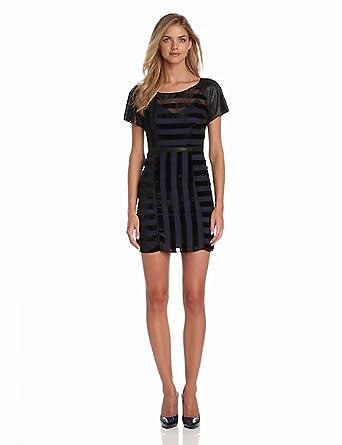 Plenty by Tracy Reese Women's Striped Organza Embellished Shift Dress, Black/Ultramarine, 0