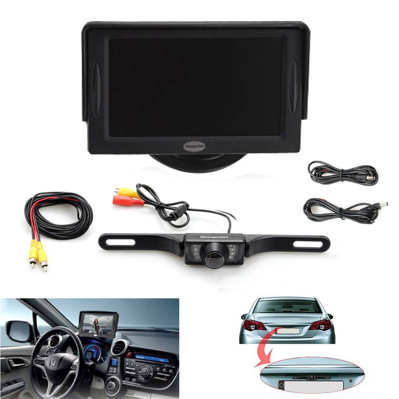 Backup Camera and Monitor Kit For Car,Universal Waterproof Rear-view License Plate Car Rear Backup Parking Camera + 4.3 TFT LCD Rear View Monitor Screen 3 in1 special rear view camera wireless receiver mirror monitor back up parking system for citroen ds3 ds 3 2009 2015