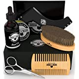 Beard Kit 6-in-1 Grooming Tool | Best Mustache & Beard Care Set For Men | Natural Balm, Unscented Oil, Boar Bristle Brush, Wood Comb, Trimming Scissors, Shaper Template | Great VALENTINE'S DAY Gift (Tamaño: Big)