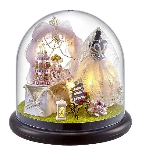 DIY En Bois miniature Maison de poupée kit -- vestiaire Modèle avec Poupées/plastique Coque/lumière LED/boîte à musique