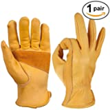 OZERO Flex Grip Leather Work Gloves Stretchable Tough Cowhide Working Glove 1 Pair (Gold, Medium) (Color: Elastic Wrist, Tamaño: Medium (1 Pair))