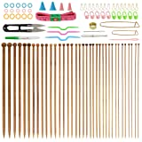 BUZIFU Bamboo Knitting Needles (14 Inches Length), 36PCS Carbonized Knitting Needles 18 Sizes from 2.0mm to 10.0mm with 56 PCS Accessories (Tamaño: Pest Repeller v.21)