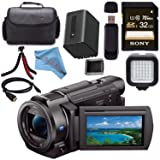 Sony FDR-AX33 FDRAX33 4K Ultra HD Handycam Camcorder + Rechargable Li-Ion Battery + Sony 32GB SDHC Card + Carrying Case + Tripod + HDMI Cable + Card Wallet + Card Reader + Fibercloth Bundle (Color: Standard)