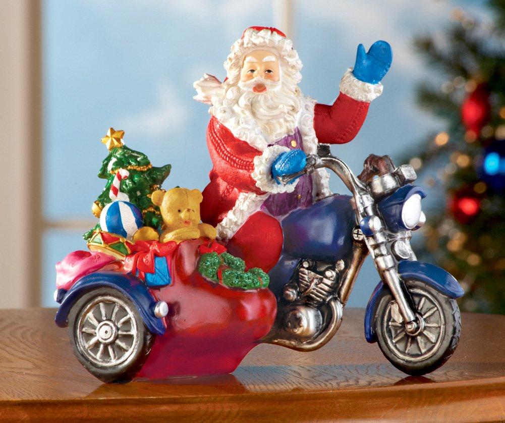 Santa On Motorcycle Tabletop Christmas Decor