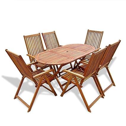 Set da pranzo da esterno in legno 6 sedie regolabili + 1 tavolo ovale