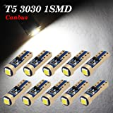 Boodled 10x Super Bright 3030 SMD T5 Canbus Error Free Instrument Speedo Gauge Cluster 37 73 74 79 17 57 LED Lights bulb (10xT5-3030-1-JM) (Super White (6000k~6500k)) (Color: Super White (6000k~6500k), Tamaño: T10 192 194 168 158 W5W)