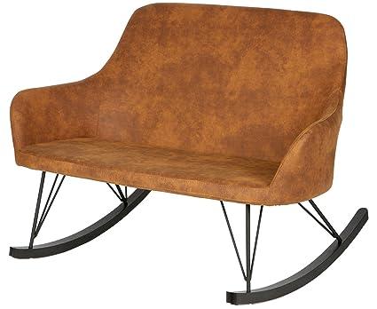 Canapé à bascule en polyester, coloris marron - Dim : H 89 x L 1260 x P 98cm - PEGANE -