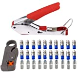 Coax Crimper Tool Kit Coaxial Compression Stripping Tool Cable Wire Stripper with 20 PCS F Male and 10 PCS Female to Female RG6 Connectors (Color: Red Crimper)