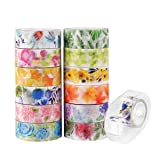 Knaid Floral Washi Masking Tape Set + Tape Dispenser, Spring Flower Decorative Paper Tapes for Arts and DIY Crafts, Scrapbooking, Bullet Journal, Planner, Gift Wrapping, Holiday Decoration (Set of 12) (Color: Floral, Tamaño: 6.3W x 6.7L)