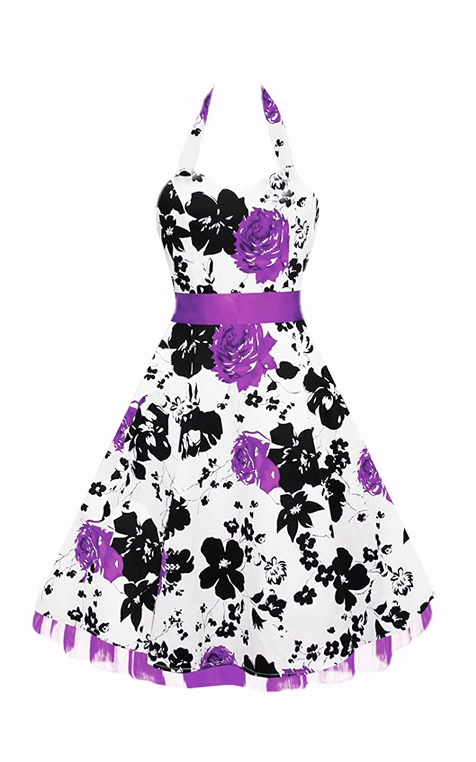 Black Butterfly Floral 50s Dress