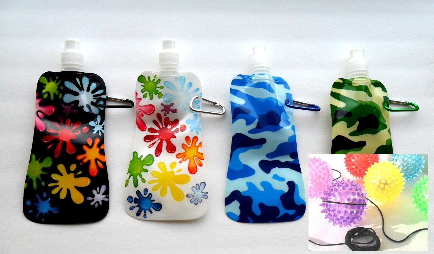 Foldable Water Bottle Set of 4 Assorted Eco-friendly 15 Oz.
