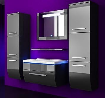 badm bel set atlantis hochglanz schwarz lackiert 90cm besteht aus waschbeckenunterschrank. Black Bedroom Furniture Sets. Home Design Ideas