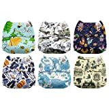 Mama Koala One Size Baby Washable Reusable Pocket Cloth Diapers, 6 Pack with 6 One Size Microfiber Inserts (Camp Days) (Color: Camp Days, Tamaño: One Size)