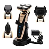 BEMAGSA Electric Shaver 5D Headed Flex Wet and Dry Waterproof Electric Razor Rotary Shaver for Men,4-in-1,1285 (Color: Shampoo 12)