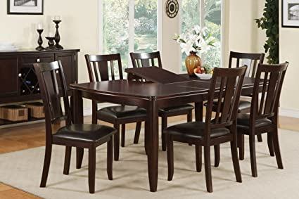 Poundex F2179 & F1285 Dark Brown Extendable Table & Leatherette Chairs Dining Set