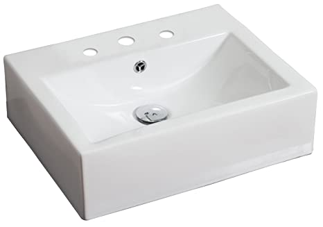 "Jade Bath JB-594 20.25"" W x 16.25"" D Above Counter Rectangle Vessel for 8"" o.c. Faucet, White"