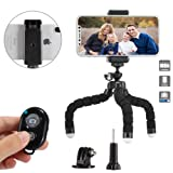 ZOYOL Flexible Phone Tripod with Wireless Remote Shutter and Universal Clip, Adjustable Camera Tripod, Portable Travel Tripod, Mini Tripod Stand Holde