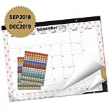 Oriday 2018-2019 Monthly Yearly Desk&Wall Pad Calendar + 2 Sets of Stickers - to-Do List Notepad (16 Months - September 2018 to December 2019, 22