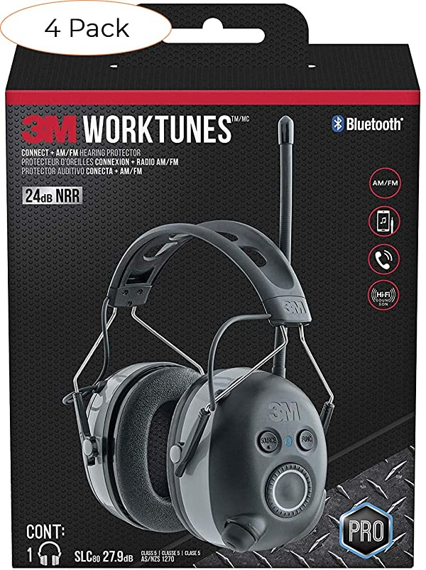 3M WorkTunes Connect + AM/FM Hearing Protector with Bluetooth technology (Pack 4) (Tamaño: Pack 4)