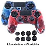 Silicone Skin for PS4 Controller - Anti-slip Covers for DualShock 4 - Anti-slip Protector Case for Sony PS4, PS4 Slim, PS4 Pro 2 PS4 Controller Skins - 4 Pairs PS4 Thumb Grips - Camo Blue & Camo Red (Color: Camo Blue+Camo Red)